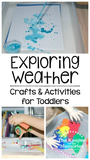collage of weather crafts and activities with text overlay: Exploring Weather Crafts & Activities for Toddlers