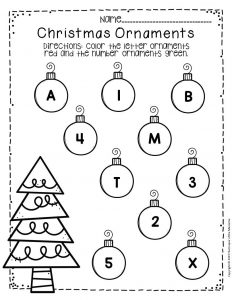 Free Printable Christmas Ornaments Christmas Preschool Worksheets 1