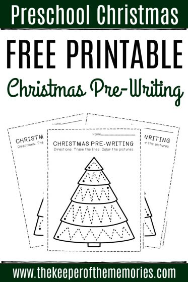Free Printable Pre-Writing Christmas Preschool Worksheets with text: Preschool Christmas Free Printable Christmas Pre-Writing