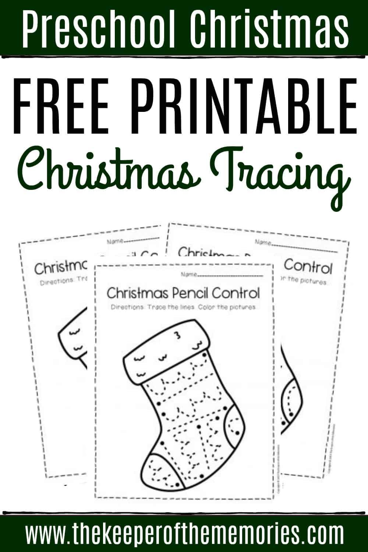 Free Printable Stocking Pencil Control Christmas Preschool Worksheets
