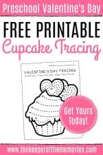 Free Printable Cupcake Tracing Valentine's Day Preschool Worksheets