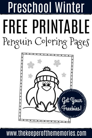 Free Printable Penguin Coloring Pages with text: Preschool Winter Free Printable Penguin Coloring Pages Get Your Freebies!