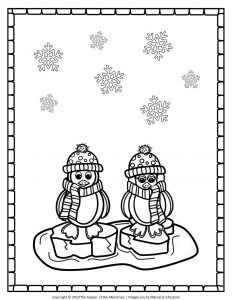 Free Printable Penguin Coloring Pages Penguins on Ice