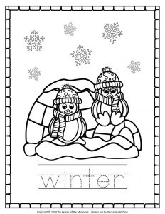 Free Printable Penguin Coloring Pages Winter Tracing