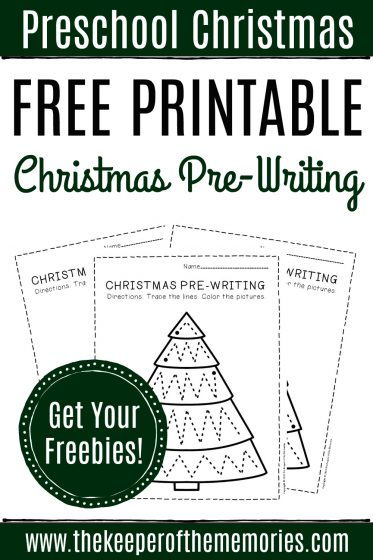 Free Printable Pre-Writing Christmas Preschool Worksheets with text: Preschool Christmas Free Printable Christmas Pre-Writing Get Your Freebies!