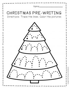 Free Printable Pre-Writing Christmas Preschool Worksheets 4
