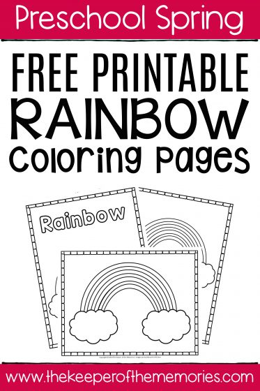 Free Printable Rainbow Coloring Pages with text: Preschool Spring Free Printable Rainbow Coloring Pages
