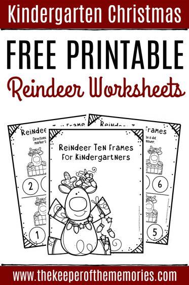 Free Printable Reindeer Ten Frame Kindergarten Worksheets