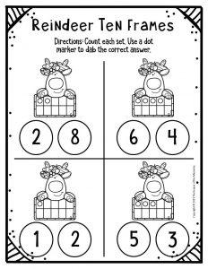 Free Printable Reindeer Ten Frames Kindergarten Worksheets 1