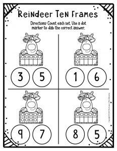 Free Printable Reindeer Ten Frames Kindergarten Worksheets 2