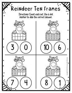 Free Printable Reindeer Ten Frames Kindergarten Worksheets 3