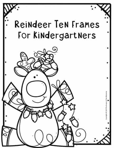 Free Printable Reindeer Ten Frames Kindergarten Worksheets