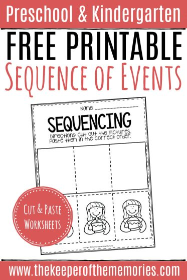 Free Printable Sequence of Events Preschool Worksheets with text: Preschool & Kindergarten Free Printable Sequencing of Events Cut & Paste Worksheets