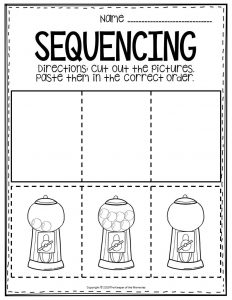 Free Printable Sequencing Preschool Worksheets Gumball Machine