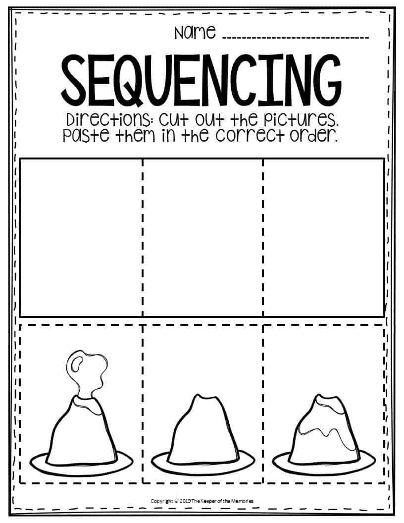 Free Printable Sequencing Preschool Worksheets Volcano ...
