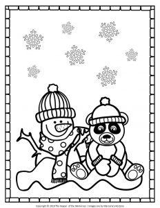 Free Printable Snowman Coloring Page Snowman and Panda Bear