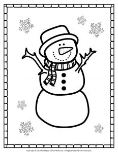 Free Printable Snowman Coloring Pages Christmas Snowman