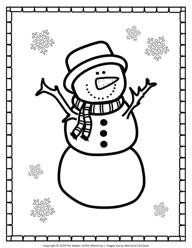 Free Printable Snowman Coloring Pages Christmas Snowman ...
