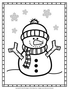 Free Printable Snowman Coloring Pages Cute Snowman