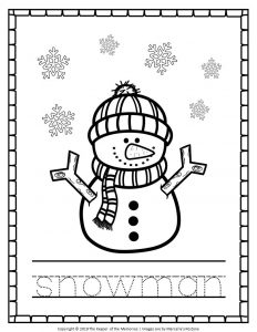Free Printable Snowman Coloring Pages Snowman Tracing
