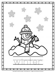 Free Printable Snowman Coloring Pages Winter Tracing