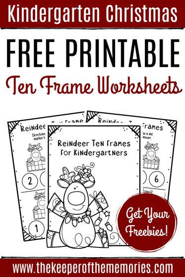 Free Printable Ten Frame Christmas Kindergarten Worksheets