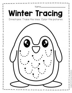 Free Printable Winter Tracing Preschool Worksheets 1