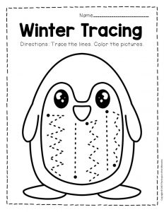 Free Printable Winter Tracing Preschool Worksheets 2