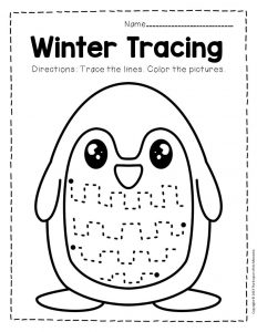 Free Printable Winter Tracing Preschool Worksheets 3