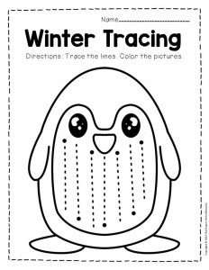 Free Printable Winter Tracing Preschool Worksheets 4