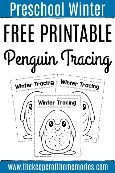 Winter Tracing Preschool Worksheets with text: Preschool Winter Free Printable Penguin Tracing