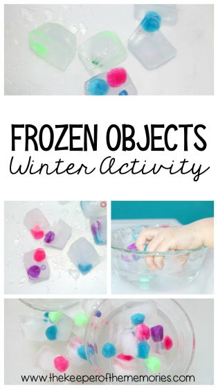 collage of frozen objects winter activity images with text: Frozen Objects Winter Activity