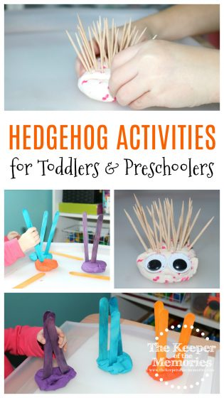 collage of Hedgehog Activities for Kids with text: Hedgehog Activities for Toddlers & Preschoolers