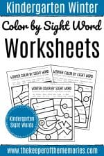 Color by Sight Word Winter Kindergarten Worksheets