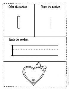 Numbers Valentines Day Preschool Worksheets 1