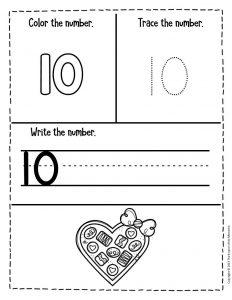 Numbers Valentines Day Preschool Worksheets 10