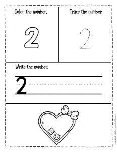 Numbers Valentines Day Preschool Worksheets 2