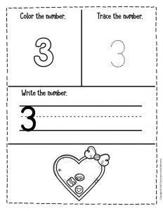 Numbers Valentines Day Preschool Worksheets 3