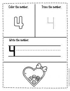 Numbers Valentines Day Preschool Worksheets 4