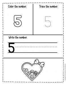 Numbers Valentines Day Preschool Worksheets 5