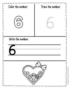 Numbers Valentines Day Preschool Worksheets 6