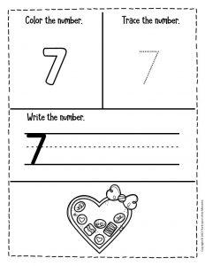 Numbers Valentines Day Preschool Worksheets 7