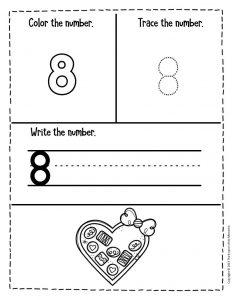 Numbers Valentines Day Preschool Worksheets 8