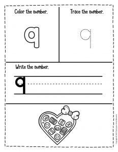 Numbers Valentines Day Preschool Worksheets 9