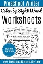 Color by Sight Word Winter Preschool Worksheets