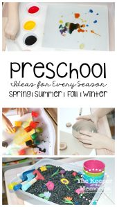 collage of preschool activities with text: Preschool Ideas for Every Season Spring, Summer, Fall, Winter