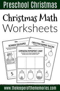 Printable Math Christmas Preschool Worksheets with text: Preschool Christmas Christmas Math Worksheets