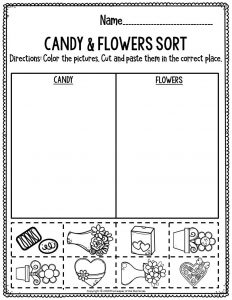 Printable Math Valentine's Day Preschool Worksheets Candy & Flower Sort