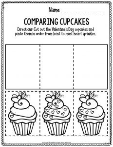Printable Math Valentine's Day Preschool Worksheets Comparing Cupcakes