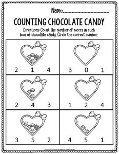 Printable Math Valentine's Day Preschool Worksheets Counting Chocolate Candy